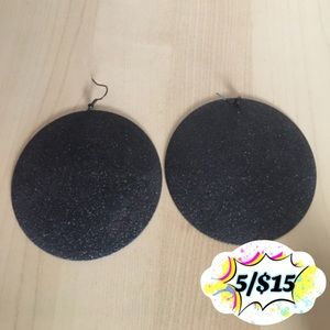 "💟☮️☯️5for$15 Glam 3.25"" Disc Black Earrings☯️☮️💟"